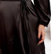 / Размер 50-52,54-56 / Женское элегантное платье на запАх  / 7039-1-Черный, фото 3