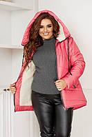 Куртка женская зимняя на овчине большого размера