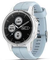 Спортивні годинник Garmin fenix 5S Plus, Glass, Wht w/Sea Foam Bnd, GPS Watch, EMEA (010-01987-23)