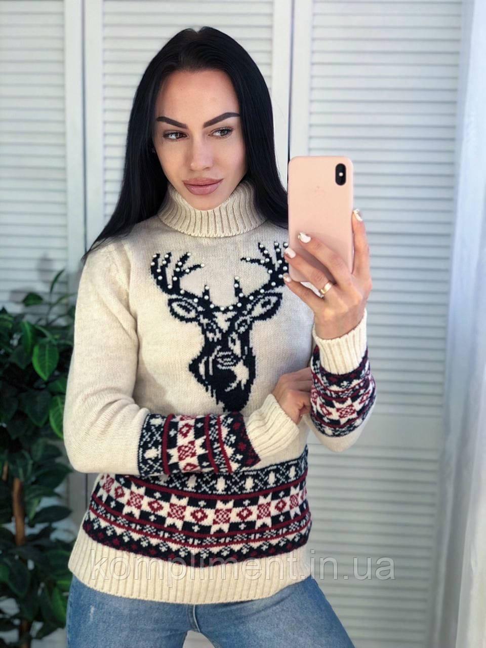 Вязаный свитер женский шерстяной с рисунком,молоко .Производство Турция.NВ 7004