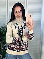 Вязаный свитер женский шерстяной с рисунком,молоко .Производство Турция.NВ 7004, фото 1