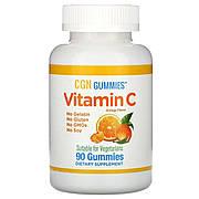 Витамин C, апельсиновые дольки без желатина, Vitamin C Gummies, California Gold Nutrition, 90 жевательных