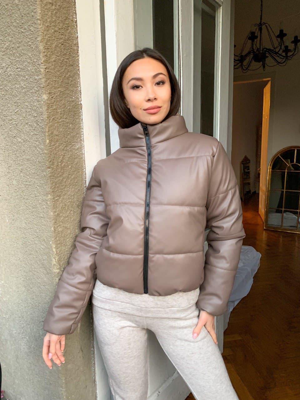 Модная женская дутая куртка из экокожи