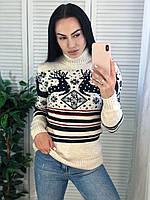 Красивий жіночий в'язаний светр,білий.Виробництво Туреччина.NВ 2407, фото 1