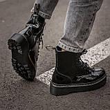 🔥 Ботинки женские высокие зимние Dr. Martens Jadon черные лаковые лак кожаные кожа теплые демисезонные, фото 4