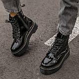 🔥 Ботинки женские высокие зимние Dr. Martens Jadon черные лаковые лак кожаные кожа теплые демисезонные, фото 3
