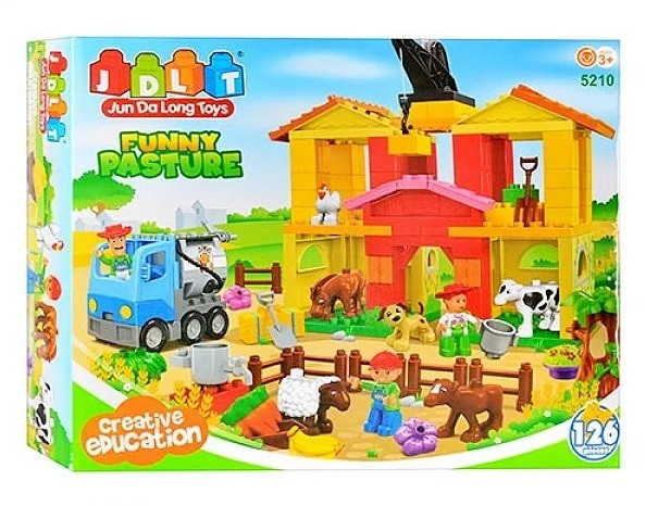 Конструктор блочный ферма с животными