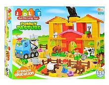 Конструктор для маленьких дітей Funny Pasture блоковий типу лего Ферма з тваринами арт.5210