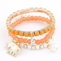 Комплект женских браслетов на руку Слон B002983 оранжевый
