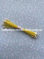 Тычинки тайские, белые на желтой нитке, круглые, супермелкие