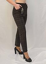 Лосины женские на меху в мелкую клетку 2XL - 7XL Брюки с накладными карманами в больших размерах, фото 3