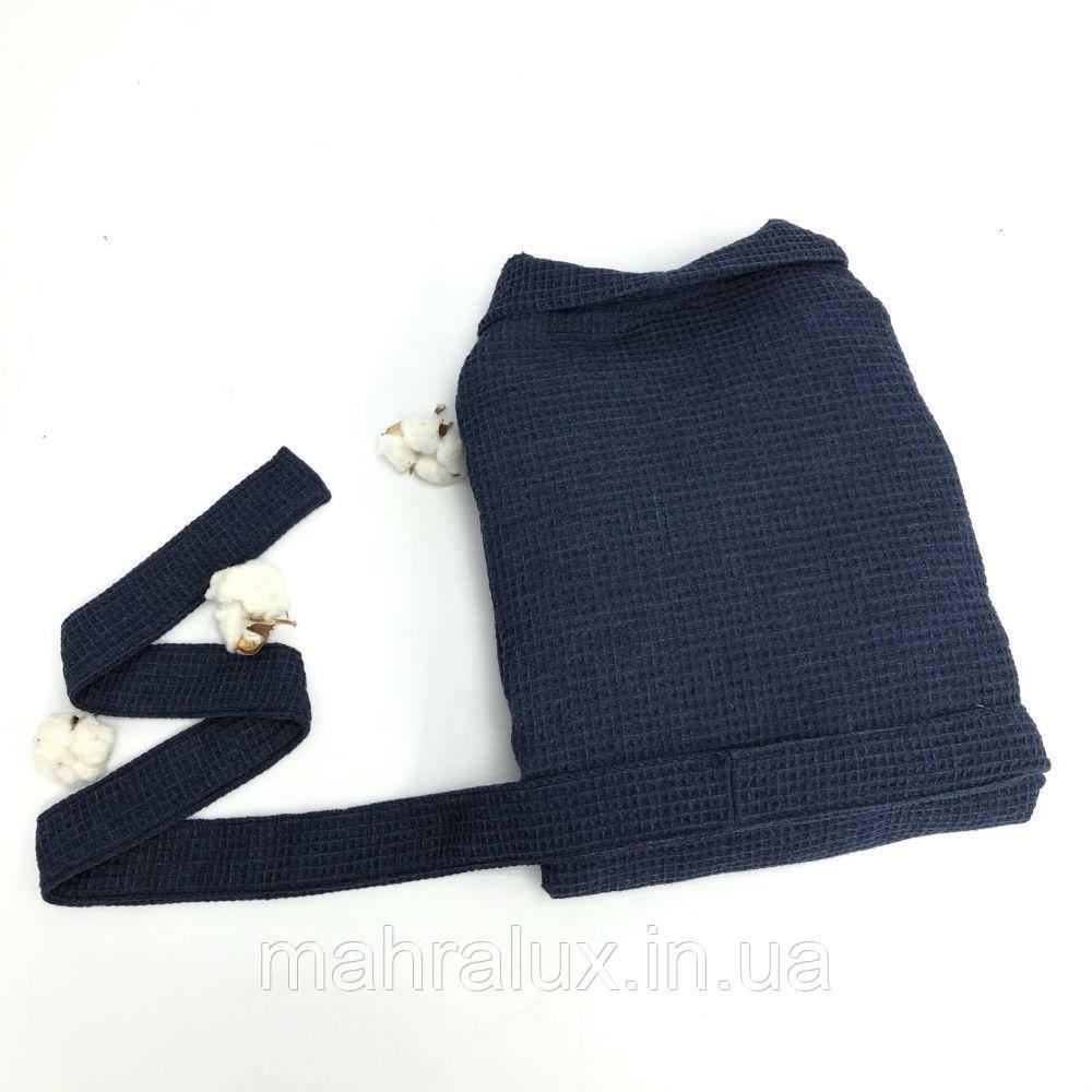Вафельный халат синий с шалевым воротником