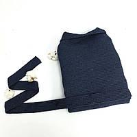 Вафельный халат синий с шалевым воротником, фото 1