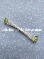 Тычинки тайские, салатовые на белой нитке, круглые, супермелкие