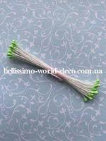 Тычинки тайские, светло-зеленые на белой нитке, круглые, супермелкие