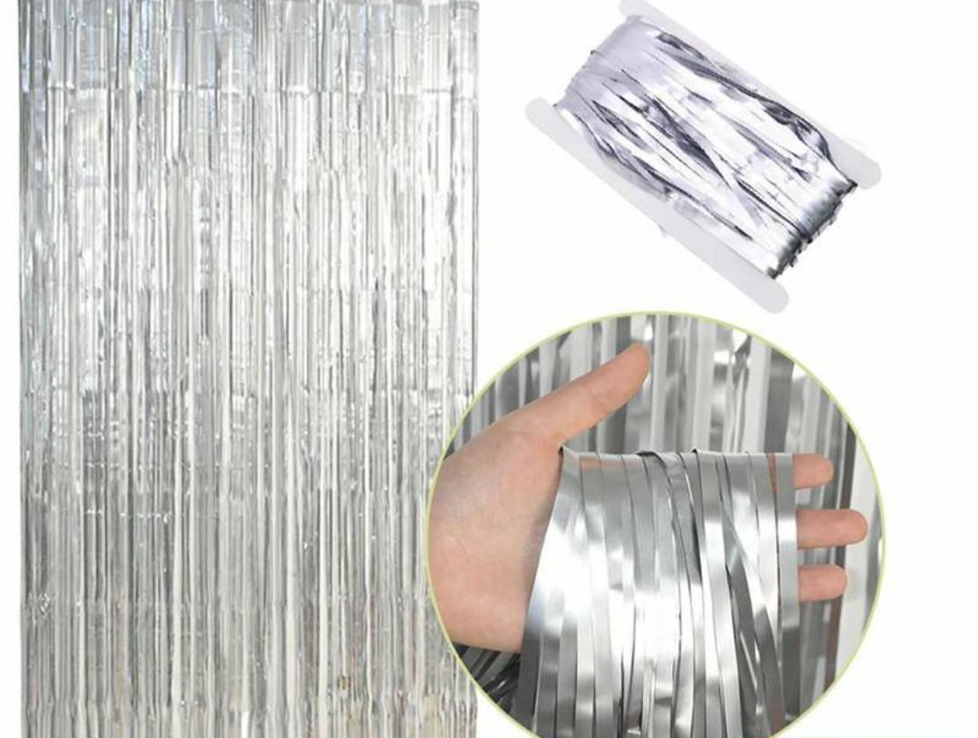 Фольгована шторка срібний 1,2*3 метри
