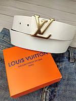 Белый кожаный ремень в стиле Louis Vuitton (Луи Витон) ЛВ