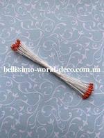 Тычинки тайские, оранжевые на белой нитке, круглые, супермелкие