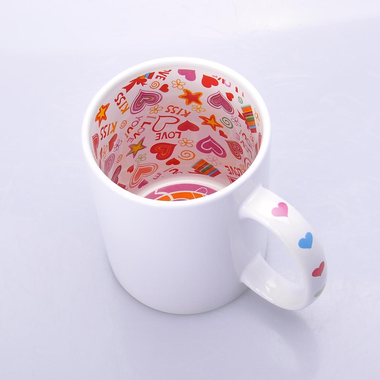 Чашка сублимационная Premium белая с рисунком внутри 330мл (Вариант 2)