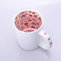 Чашка сублимационная Premium белая с рисунком внутри 330мл (Вариант 2), фото 1