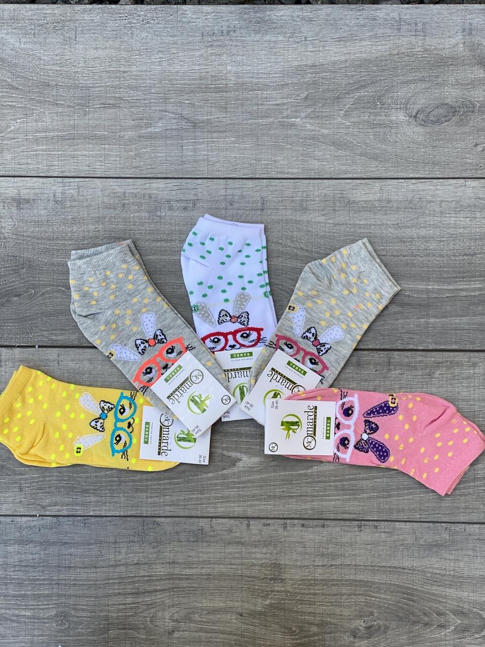 Жіночі шкарпетки зайчик в окулярах бамбук Marde 35-40 12 шт в уп мікс 4 кольорів