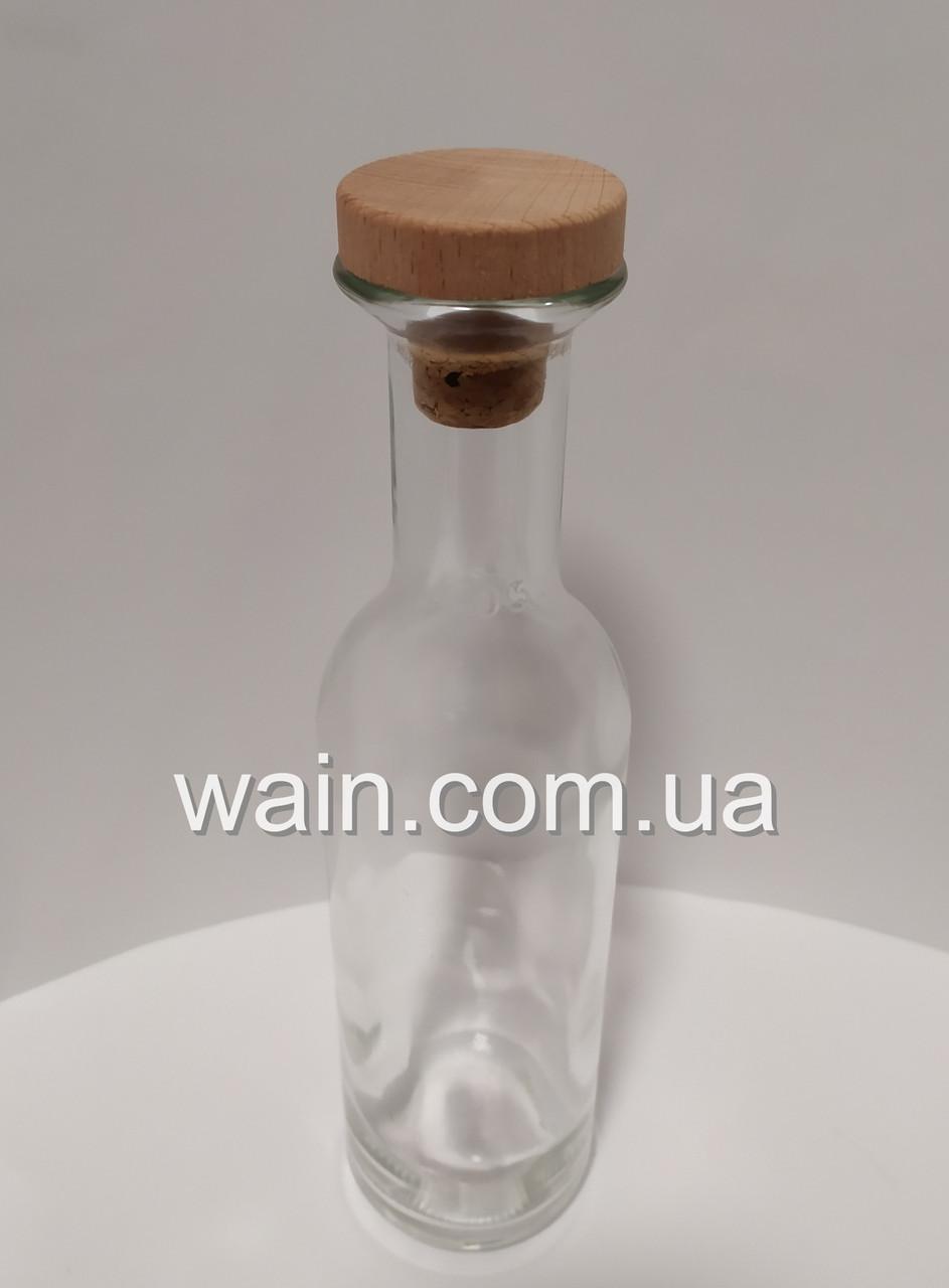 Стеклянная бутылка 500 мл с деревянной пробкой для хранения, подачи напитков Olympus Carafe UniGlass