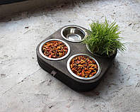 Миска-годівниця металева by smartwood для кішок котів кошенят XS - 4 миски (200 мл)