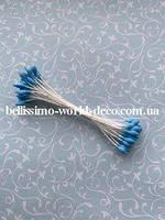 Тычинки тайские, темно-голубые на белой нитке, каплевидные