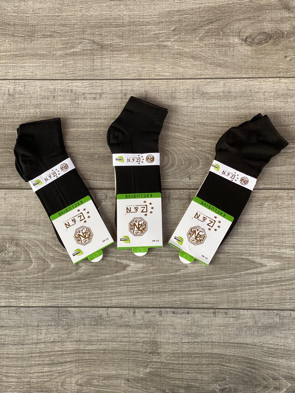 Чоловічі шкарпетки Z&N короткі бамбук однотонні в сітку 40-45 12 шт в уп чорні