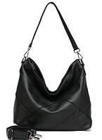 Кожаная женская сумка из натуральной кожи. Сумка хобо женская (черная)