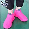 Чехлы бахилы для обуви силиконовые бахилы от дождя многоразовые бахилы от дождя РОЗОВЫЕ р-р М (37-41), фото 5
