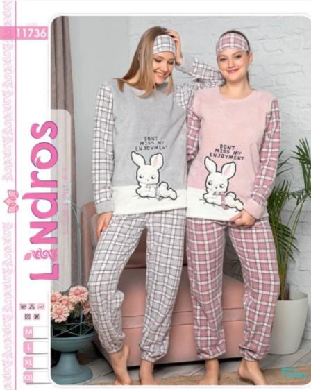 Женская турецкая теплая пижама Lindros  My honey