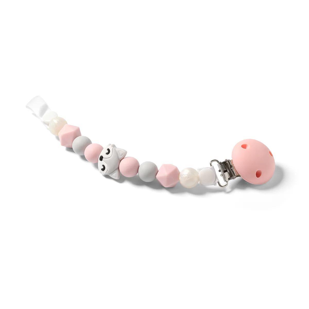 Тримач для пустушки BabyOno Natural nursing, рожевий з білим (719/04)
