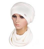 Комплект шапка и шарф вязаный женский Darina ангора белого  цвета, фото 1