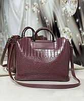 Женская сумка под рептилию формат А4 модная городская сумочка молодежная темная пудра экокожа, фото 1