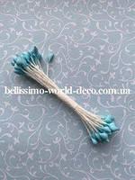 Тычинки тайские,светло-голубые на белой нитке, каплевидные