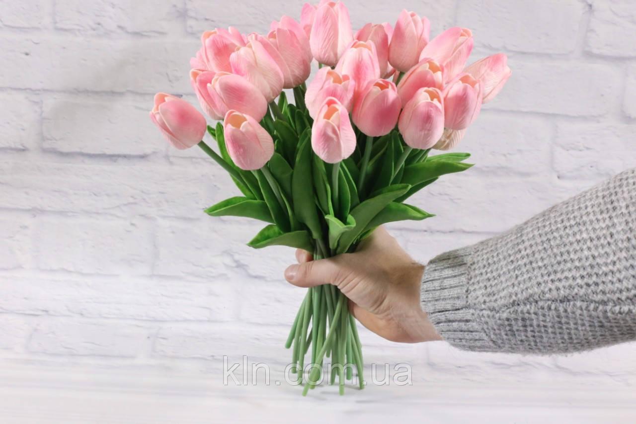Цветы силиконовые розовые искусственные тюльпаны 31 шт декор букет (арт. DT005)