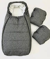Теплый конверт в коляску Серый Меланж, кокон-конверт, зимний конверт