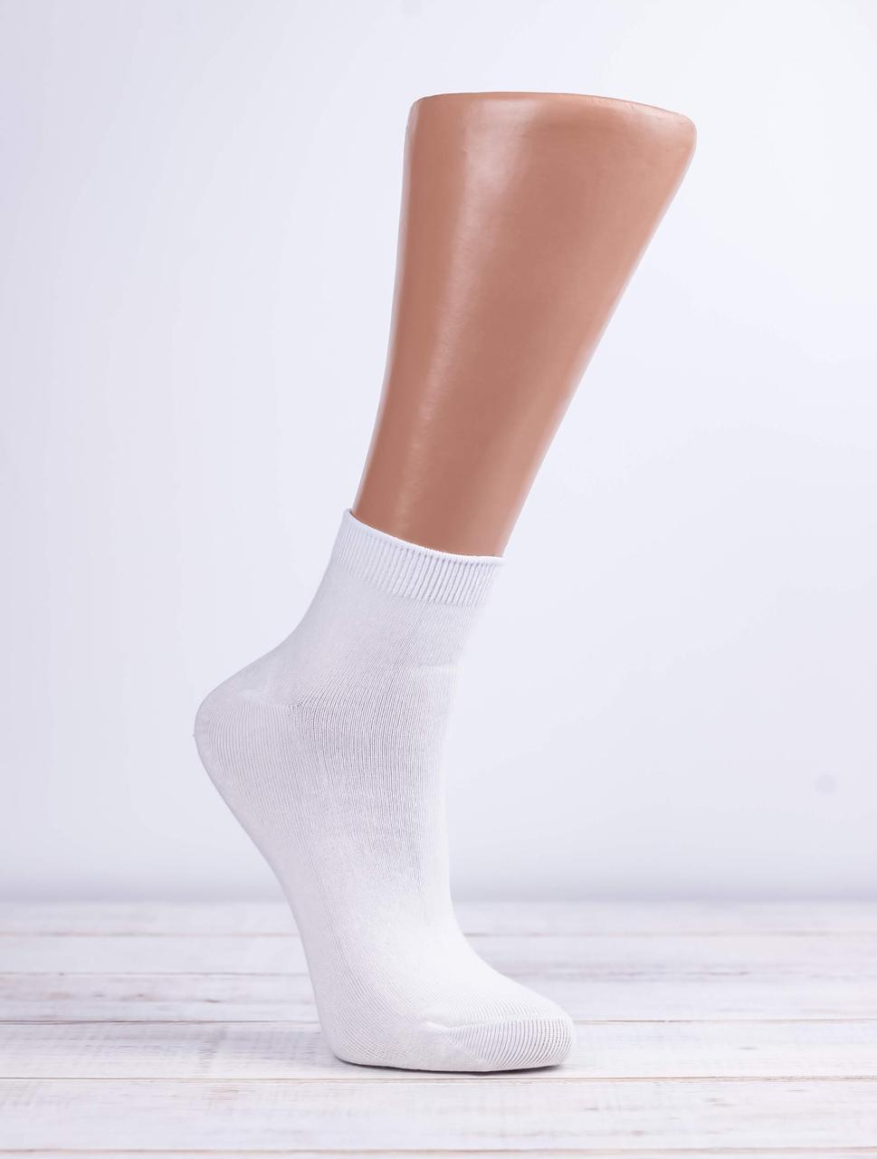 Жіночі однотонні антибактеріальні носки шкарпетки стрейчеві Z&N бамбук патік 35-40 12 шт в уп білі