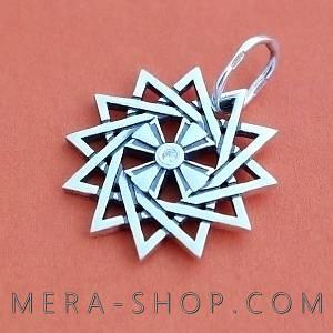 Серебряная Звезда Эрцгаммы двухсторонняя - талисман из серебра 925 пробы с камнями (24 мм, 4.4 г)