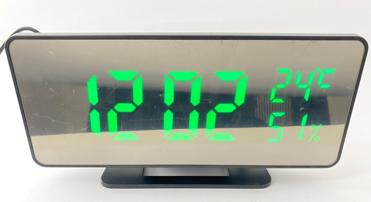 Дзеркальні годинник VST-888-4 настільні будильник, термометр, гігрометр