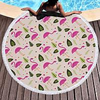 Пляжный коврик Фламинго и листья Розовый kj123289, КОД: 1533183