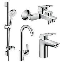 LOGIS LOOP набір змішувачів для ванни, умивальника 100 + кухня (71151000+71244000+26553400+71835000)
