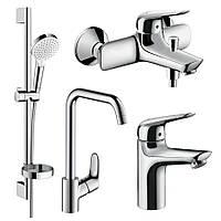 NOVUS набір змішувачів для ванни, умивальника 100 + кухня (71030000+71040000+26553400+31820000)