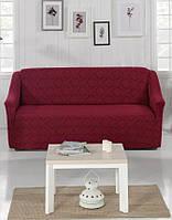 Жаккардовый чехол на трехместный диван Бордовый