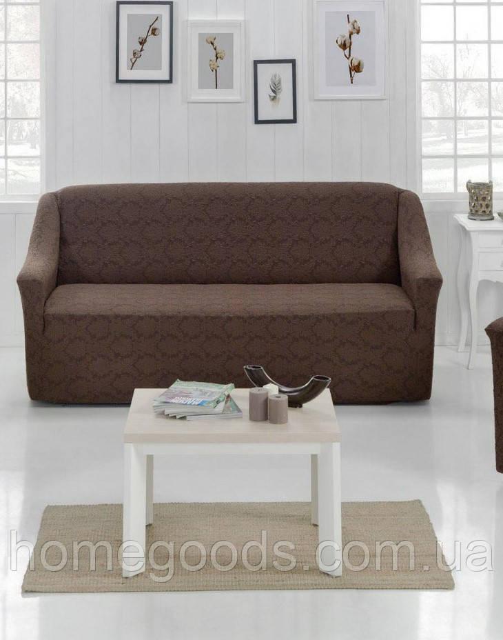Чехол на диван из плотной ткани Коричневый