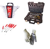 Набор инструментов 108 предметов Сталь, набор ключей 12 шт , набор ударных отверток 6 штук INTERTOOL