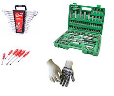 Комплект: Набор инструмента 108 пр, набор ключей 12 шт, набор ударных отверток 6 штук INTERTOOL+перчатка