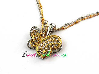 Кулон Бабочка, серебро-золото
