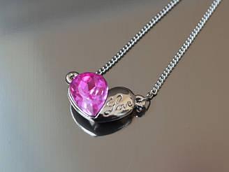 Кулон Сердце кристалл Love, фуксия на серебре